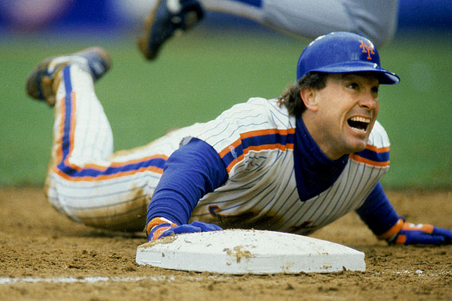 Carter launches into a headfirst slide during his first season with the Mets. He hit .281 with 32 homers and 100 RBI that year.