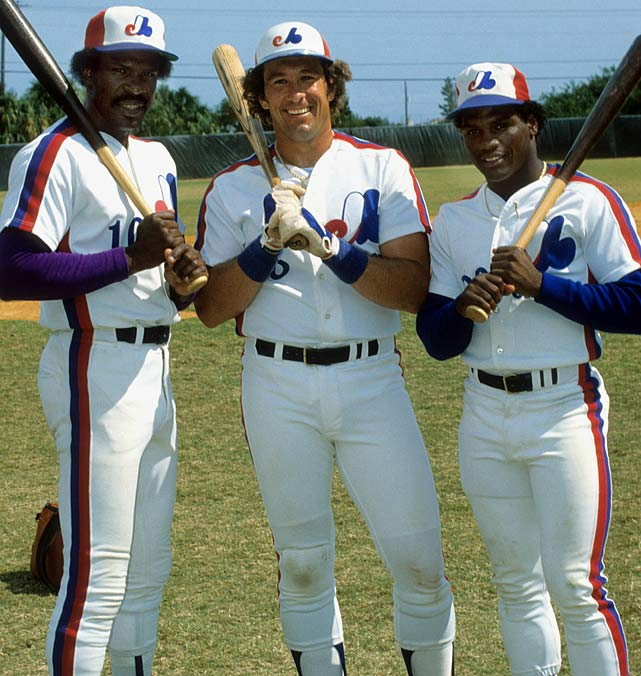 The Expos stars pose for a photo. Dawson and Carter are both Hall of Famers, and Raines was a seven-time All-Star. But the Expos finished the 1984 season 78-83.