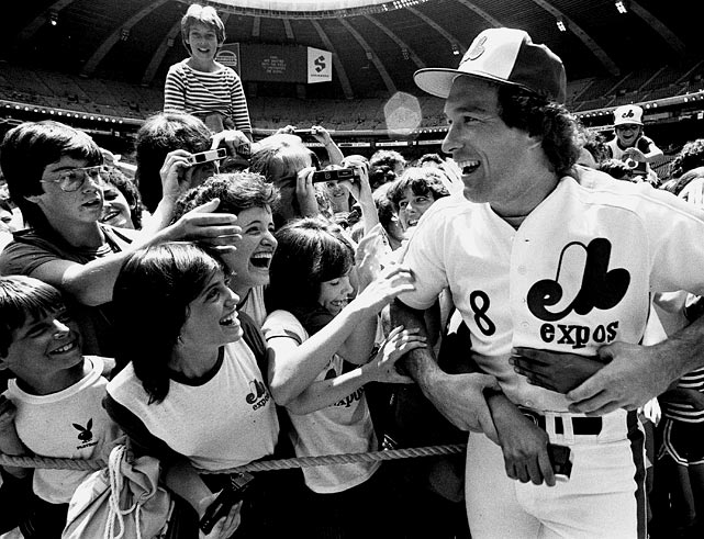 The catcher is mobbed by fans prior to a game with Pittsburgh on June 24. The fan favorite became the first player who spent most of his career with Montreal to be elected into the Hall of Fame.
