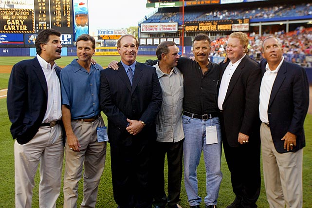The former Mets are photographed together on Gary Carter Night at Shea Stadium, two days after the former catcher was inducted into the Hall of Fame.