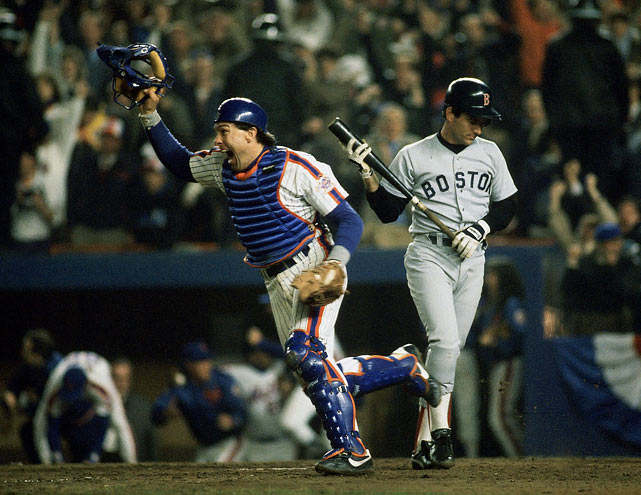 Carter begins the celebration after Barrett strikes out for the final out of Game 7, an 8-5 victory for New York. The catcher hit .276 with two home runs during the series.