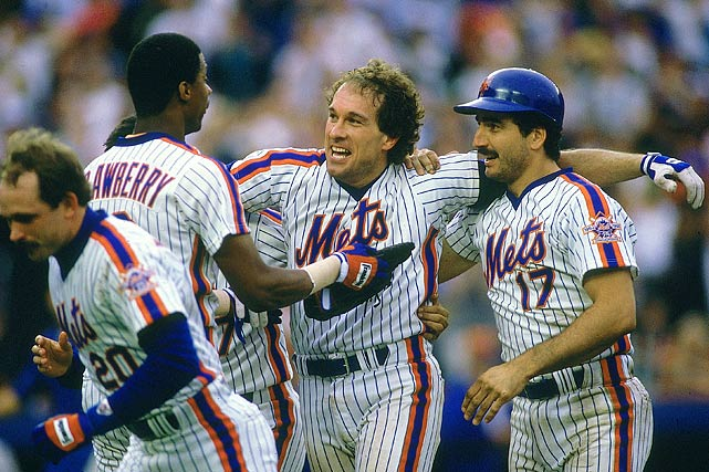 The Mets celebrate a victory over the Pittsburgh Pirates. The team finished with a major-league best 108-54 record.