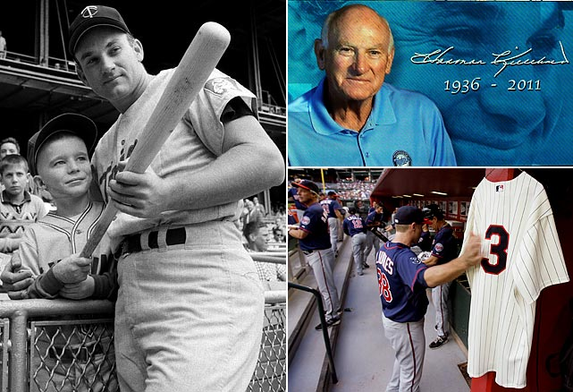 Hall of Famer Harmon Killebrew succumbed to cancer on at the age of 74. The longtimeSenators and  Twins star had retired in 1975 after hitting 573 home runs in a 22-year career and was later enshrined in the Hall of Fame. The Twins honored his legacy by adding a No. 3 patch on the right sleeve of their jerseys, which  they plan to wear for the rest of the season.