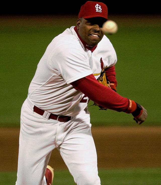 Six-time All-Star and three-time recipient of the Silver Slugger award, Bobby Bonilla, playing his last season for the St. Louis Cardinals, relieved Steve Cline in the top of the ninth against the Arizona Diamondbacks. He allowed three hits, two runs and one homer, bringing the final to 17-4.