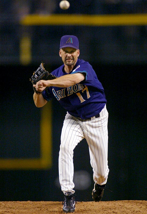 "Three-time All-Star and four-time Golden Glove Award winner Mark Grace pitched the last inning for the Diamondbacks in a 19-1 blowout against the Dodgers. Grace subsequently allowed catcher Dave Ross to hit the first home run of his career. Said Grace, ""Obviously he can hit 65 mph fastballs."""