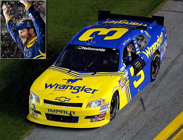 "Junior paid tribute to his father at the 2010 Nationwide Series race at Daytona with a car that was adorned in the blue-and-yellow Wrangler paint scheme that the elder Earnhardt used in the early 1980s, complete with the familiar No. 3 on the side. He honored his father's memory the best way possible, by winning the race. Said Junior afterward, ""With that number and that car, nothing but a win would have been good enough."""
