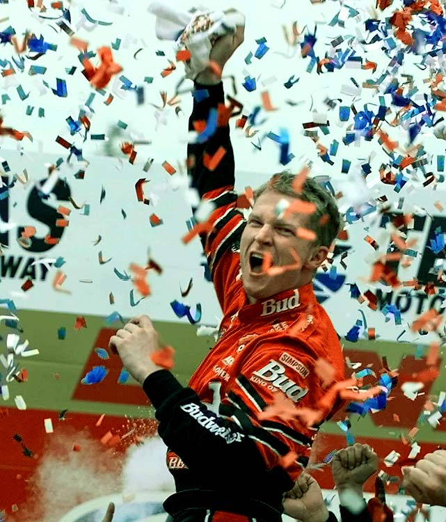 Junior won his first NASCAR Cup race in only the seventh start of his rookie season, and he did so in dominating fashion. Junior led 106 of 334 laps at Texas Motor Speedway and beat runner-up Jeff Burton to the finish line by nearly six seconds. He picked up his second career victory a month later at Richmond International Raceway.