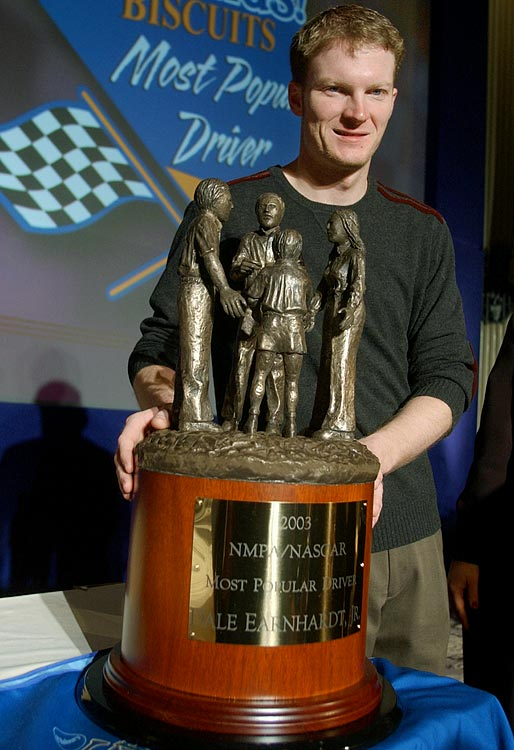 Junior Nation officially took over NASCAR at the end of the 2003 season when Junior won the Most Popular Driver Award for the first time. He has held the honor every season since -- eight years and counting -- and will probably maintain a stranglehold on the award until he retires. Despite his struggles in recent years, Junior continues to be by far the driving force in NASCAR.