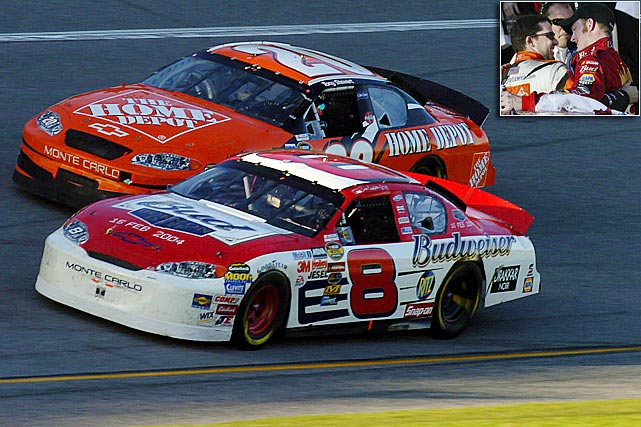 With President George W. Bush in attendance, Junior won NASCAR's biggest race six years to the day after his father picked up his lone Daytona 500 victory. Junior held off a pass attempt by Tony Stewart midway through the final lap, and then pulled away through turns 3 and 4 for a comfortable margin of victory.