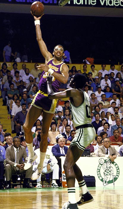 The dominant center is the only player to win the Finals MVP with two franchises. In 1971, Abdul-Jabbar averaged 27 points and 18.5 rebounds in the Bucks' four-game romp over the Baltimore Bullets. Fourteen years later, Kareem won MVP again, averaging 25.7 points and 10 rebounds in the Lakers' 4-2 series win over the Celtics.