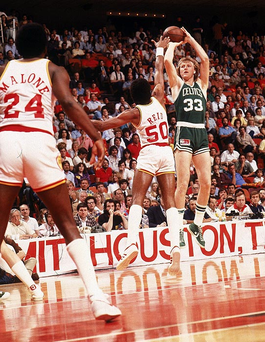 The 1984 Finals was the first of Bird's legendary matchups with college rival and Lakers star Magic Johnson. Bird averaged 27.4 points and 14 rebounds as Boston outlasted L.A. in Game 7. In 1986, Boston defeated the Houston Rockets 4-2 with Bird nearly averaging a triple-double with his 24 points, 9.7 rebounds and 9.5 assists.