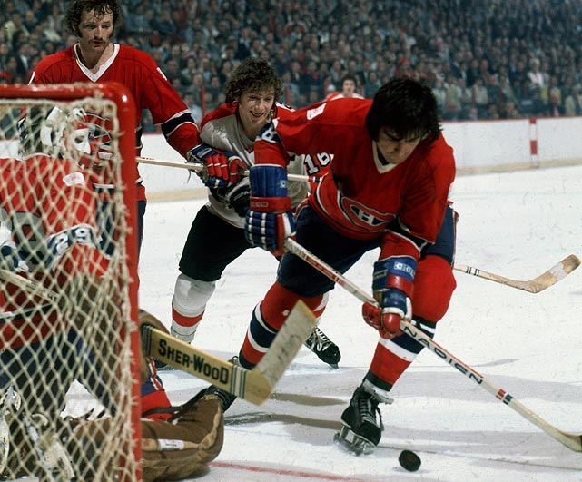 The Flyers' run of two consecutive Cups ended in a sweep by goalie Ken Dryden and the Montreal Canadiens, who kept Philly's captain well in check (3 assists) after he'd enjoyed his most prolific offensive season: 30 goals, 119 points.