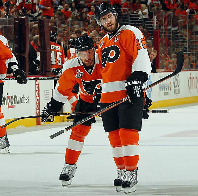 The Flyers' two top scorers during the regular season (Richards: 31 goals, 62 points; Carter: 33 goals, 61 points) had a rough time against the Chicago Blackhawks in the Cup final. Richards, the team's captain, finished the six-game series with one goal, a measly two points and a woeful -7 rating. Carter wasn't much better: two points, -6.