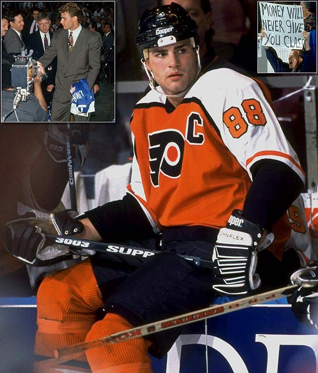 "He was drafted first overall by the Quebec Nordiques in 1991 but refused to play for a losing team in the NHL's smallest market -- he even refused to put on their sweater during his Draft Day introduction -- thereby enraging the city as well as the entire province. The highly-touted Lindros, dubbed ""The Next One"", turned down a 10-year, $50 million offer saying he didn't believe the Nordiques wanted to win the Stanley Cup and sat out the 1991-92 season while forcing Quebec to trade him to the Philadelphia Flyers for Peter Forsberg, Ron Hextall, Mike Ricci, Chris Simon, Kerry Huffman, Steve Duchesne, two first-round picks, and $15 million. The trade ultimately built a Stanley Cup champion, but by that time, the Nordiques had moved to Colorado."