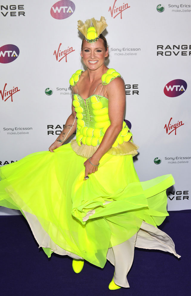 No stranger to bold fashion statements, Bethanie Mattek-Sands stole the spotlight at Thursday's annual pre-Wimbledon party with a flamboyant tennis-inspired gown. The 26-year-old American, who is seeded at a Grand Slam for the first time in her career at No. 31, commissioned designer Alex Noble -- best-known for his work with Lady Gaga -- to create the attention-grabbing dress. Here's a look at some of the other tennis stars and VIPs who attended the bash at the Kensington Roof Gardens in London.