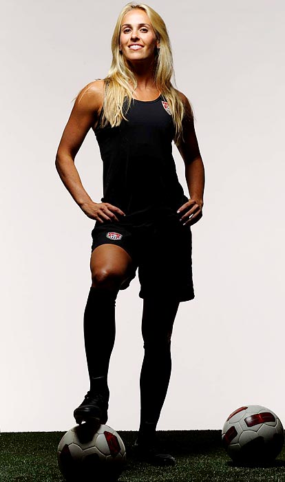 An injury scratch from both the 2003 and '07 World Cups, she earned her spot this year after proving her fitness (over a nagging hamstring) in the June 5 match against Mexico. The wife of Rams quarterback A.J. Feeley, Mitts will be the oldest U.S. woman ever to make her World Cup debut.