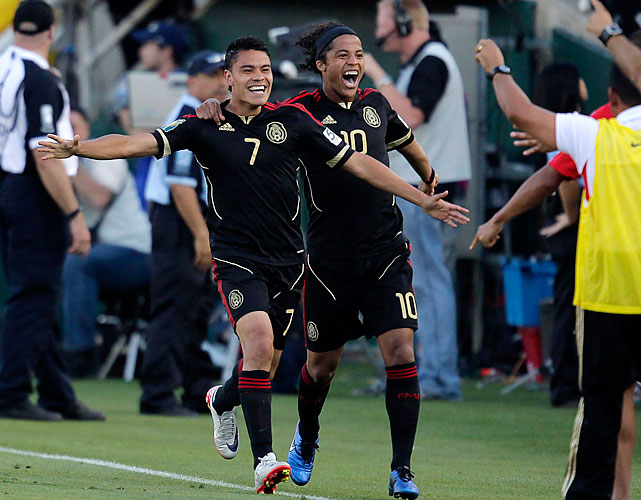 The second of Pablo Barrera's (left) two goals put the Mexicans up 3-2 in the 50th minute.
