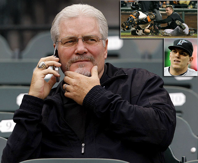 "The feud started when Marlins outfielder Scott Cousins tagged up on a sacrifice fly, ran home and knocked Giants star catcher Buster Posey over, a clean play under MLB's rules. In the collision Posey broke his fibula, knocking him out for the rest of the year. Giants GM Brian Sabean was furious with the play, saying, ""If I never hear from Cousins again, or he doesn't play another day in the big leagues, I think we'll all be happy.""  Cousins had apologized multiple times for the collision, so teammate Logan Morrison (bottom inset) came to his defense. ""When has [Sabean] ever played in the big leagues? When has he ever played in the minor leagues? It's ignorant, it's inappropriate and he has no idea what the hell he's talking about."""