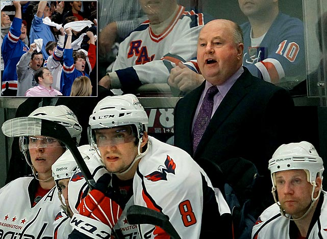 "Capitals coach Bruce Boudreau started a war of words after Game 3 of his team's first round matchup with the Rangers. The quotable coach said that Madison Square Garden had ""horrible"" facilities and the fans weren't loud. Ranger fans responded in Game 4 with chants of ""can you hear us"" after their team took a 3-0 lead. After this, the Caps scored four straight to take the game and control of the series, giving their coach the last laugh."