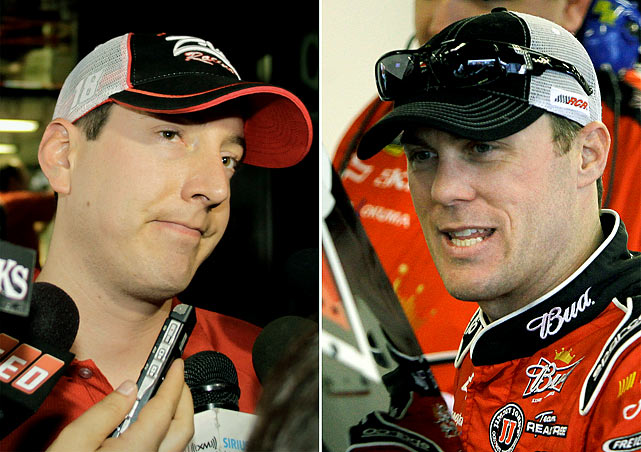"Two of NASCAR's best racers were involved in arguably the fight of the year at Darlington Raceway. Kyle Busch (left) clipped Harvick towards the end of the race, causing Harvick to spin out and slam into the wall. After the race, Harvick stopped his car in front of Busch on pit row, got out and tried to punch his rival driver. Busch slammed on the accelerator, knocking Harvick's car out of the way. Harvick was brief in his comments about Busch after he left the track, saying, ""I wanted to knock the piss out of him."" A few weeks later Busch was embroiled in another feud, when angry team owner Richard Childress put the driver in a headlock and punched him several time for damaging one of Childress's vehicles."