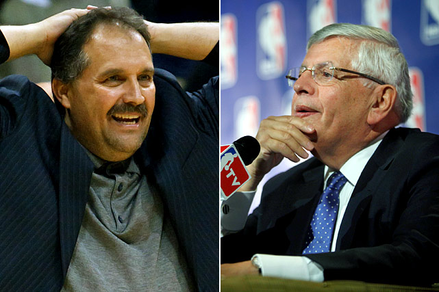 "Brash Magic coach Stan Van Gundy caused a ripple in the NBA world when he attacked David Stern, the league's commissioner. Van Gundy was quoted saying, ""I certainly can't have an opinion because David Stern, like a lot of other leaders we've seen in this world lately, don't really tolerate other people's free speech."" The all-powerful Stern replied the next day with, ""I would render a guess...that we won't be hearing from him for the rest of the season."" Stern was right."