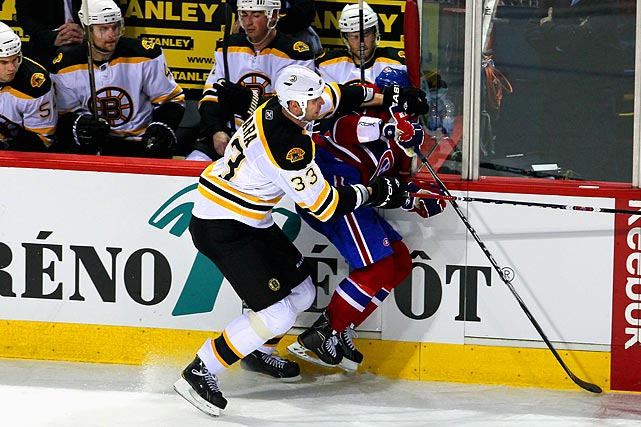 "This always feisty rivalry took a darker turn when massive Boston defenseman Zdeno Chara clocked Montreal winger Max Pacioretty, leaving him motionless on the ice for several minutes. Pacioretty suffered a concussion and a fractured neck from the hit, sparking a debate across the league about the safety of NHL players. After the game, Montreal Coach Jacques Martin said, ""The league has to deal with those issues. It's not the first time. It seems to be getting worse and worse. Somebody has to take some responsibility. It was a dangerous hit."""