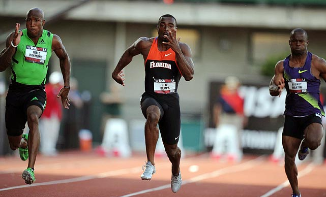 Florida Gator football star Jeff Demps (center) shows off his other talent, sprinting, on Thursday night in Eugene. Demps was fifth in the 100, failing to make the world championship team. Had he made it, Demps would have missed Florida's season opener.
