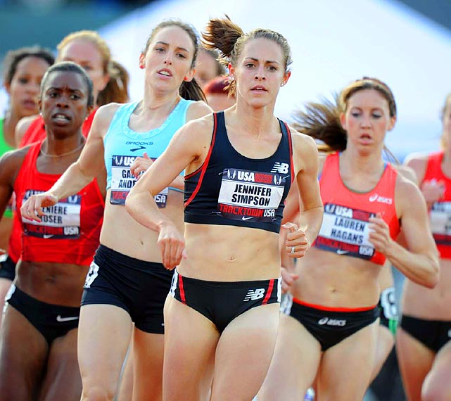 Two-time USA outdoor champion Jennifer Simpson took first in the 1500-meter semifinal and later was second in the final behind Morgan Uceny to make the worlds team.