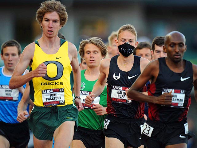 Thanks to an indiscreet face mask, Galen Rupp's (right) allergies did not prevent him from winning the 10,000 in a time of 28 minutes, 38.17 seconds.