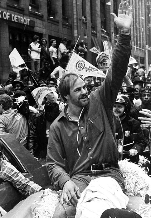 Detoit Tigers' Kirk Gibson waves to the crowd, Oct. 17, 1984, who were on hand for the ticker-tape parade through downtown Detroit in honor of the World Series champion Tigers. Gibson hit one of the most famous World Series home runs at Tiger Stadium. The start of the baseball season on April 5, 2004 marks the beginning of their 20th anniversary of their last championship.  (AP Photo/Mark Cornillie, file)