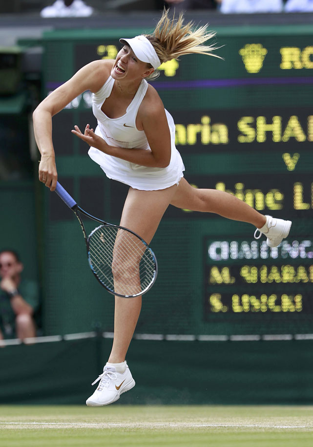 Maria Sharapova serves to Sabine Lisicki during their semifinal.