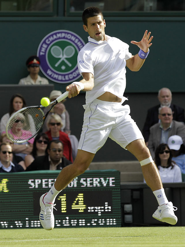 Serbia's Novak Djokovic makes a return shot during his first-round match against France's Jeremy Chardy.
