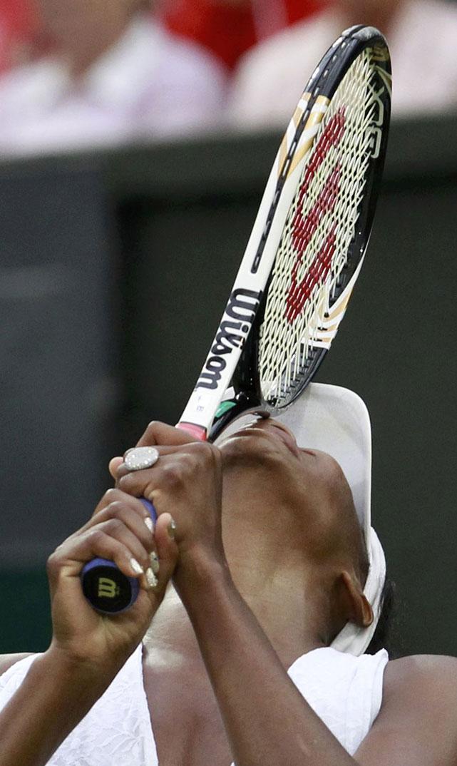 Venus Williams reacts during her match against Kimiko Date Krumm.