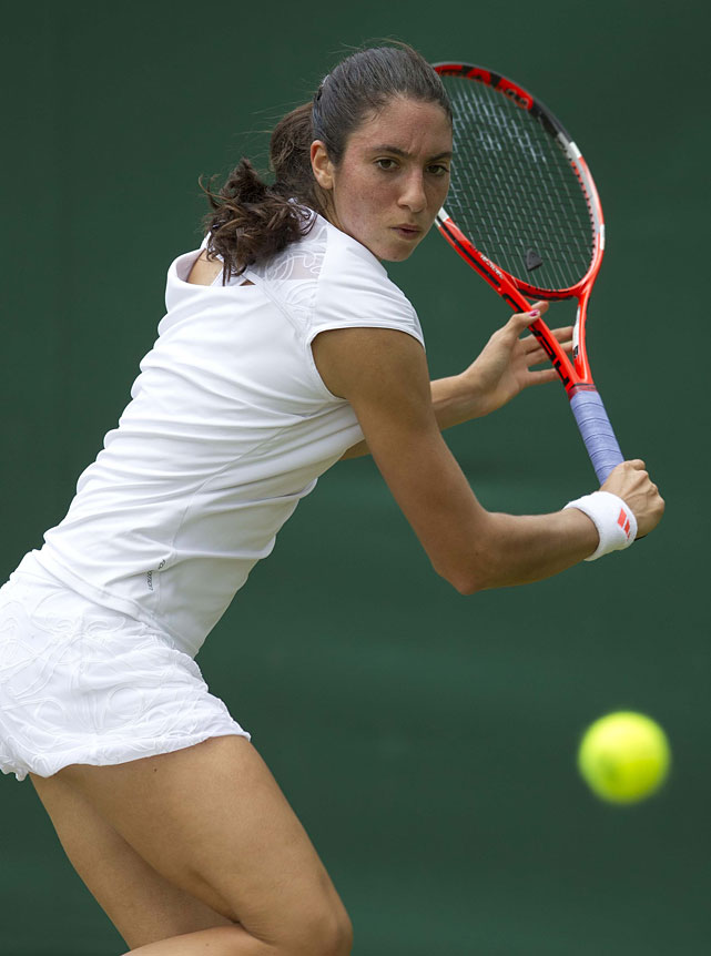 Christina McHale, a 19-year-old from Englewood Cliffs, N.J., returns a shot against Austria's Tamira Paszek.