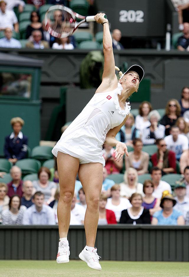 Denmark's Caroline Wozniacki in action against Australia's Jarmila Gajdosova.