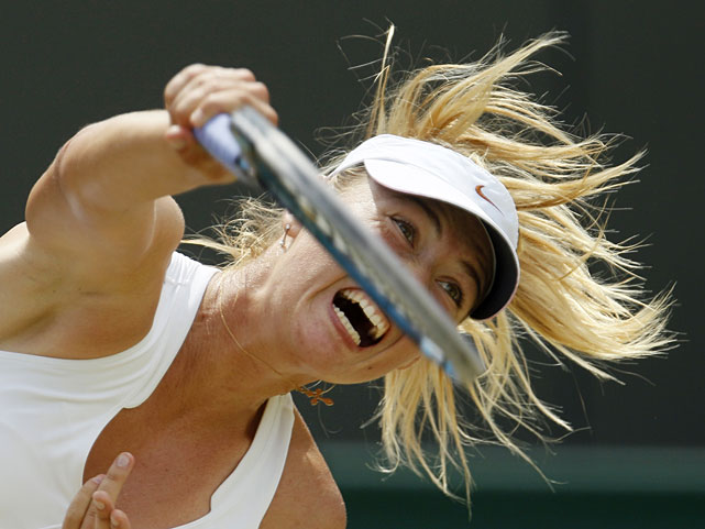 Russia's Maria Sharapova serves to China's Peng Shuai during their fourth-round match.