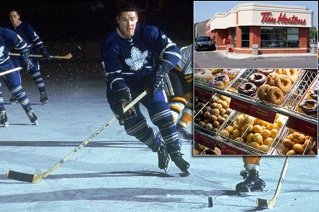 "Labeled by Gordie Howe as ""hockey's strongest man,"" Horton spent 22 seasons in the NHL as a defenseman for the Toronto Maple Leafs, New York Rangers, Pittsburgh Penguins and Buffalo Sabres. While playing for the Leafs in 1964, he opened the Tim Horton Donut Shop in Ontario. By 1967 it was a million dollar brand, thanks to its combination of cheap donuts and Horton's immense popularity in Canada. The seven-time All-Star was killed in a car crash in 1974, but his business grew ever more successful under the stewardship of his partner, Ron Joyce. Today there are over 2,700 Tim Hortons outlets across Canada and  in the US. Horton was posthumously inducted into the Hockey Hall of Fame in 1977."