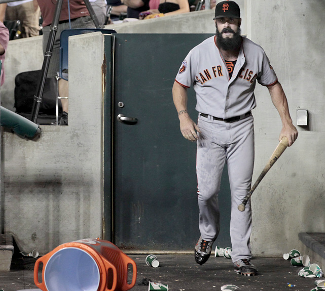 After being pulled in the ninth inning against the Tigers, Wilson took a bat to a Gatorade contained that was in the dugout. The Giants hung on for the 4-3 victory.