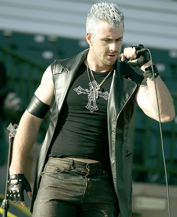 "Then-rookie Brian Wilson impersonates singer Billy Idol during spring training in 2006. It was all part of a spoof of ""American Idol"" that the rookies put on."