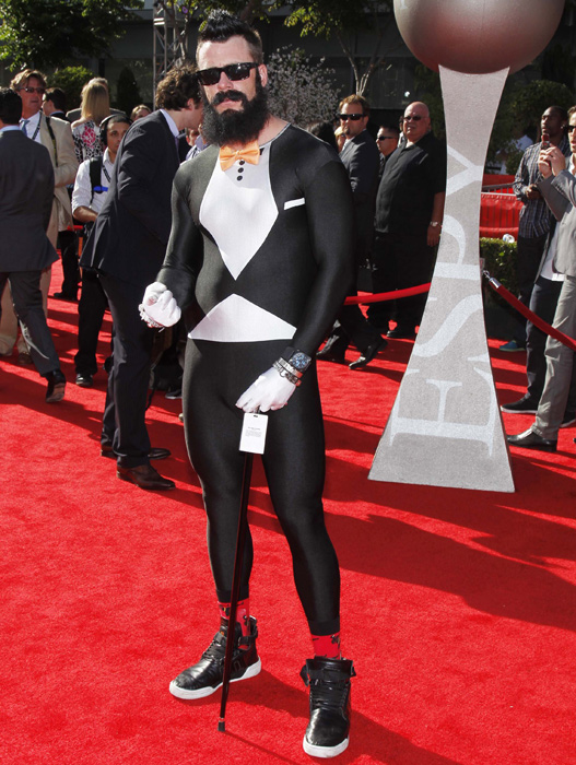 Wilson arrived at the 2011 ESPYS in Los Angeles wearing a spandex tuxedo.