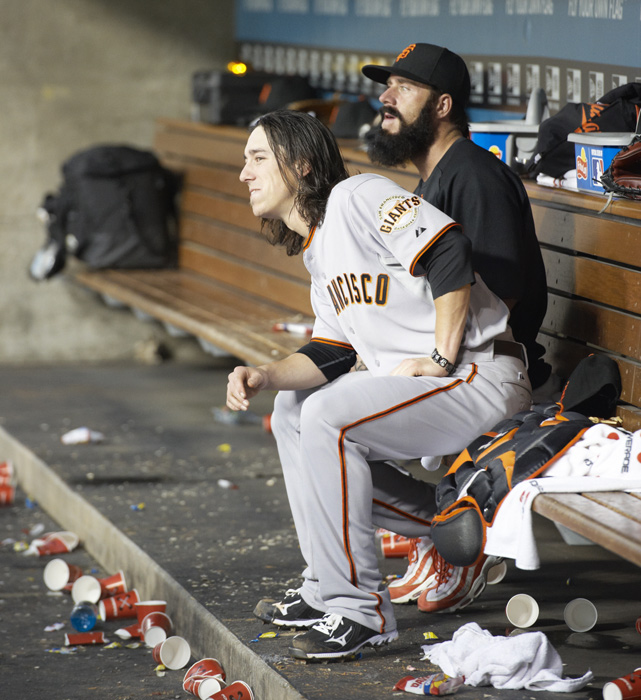 Wilson and Tim Lincecum watch their team square off against the rival Los Angeles Dodgers. Both pitchers have been Giants their entire careers.