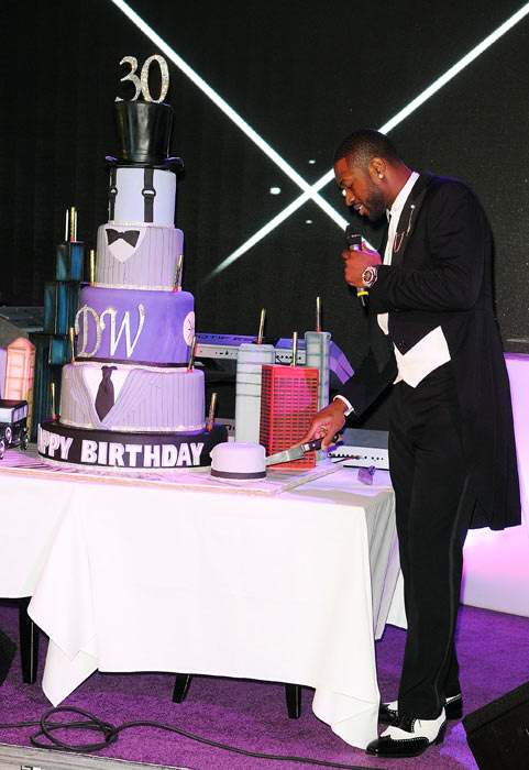 Now this is a birthday cake. Heat star Dwyane Wade celebrated his 30th birthday in Miami with an intimate group of hundreds of his famous friends. Not shown are his lovely gifts, which included a $230,000 custom McLaren car, a diamond-encrusted Hublot watch and a bottle of Dom Perignon. Basically it was a low-key bash.