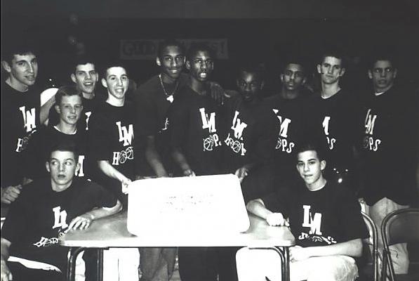 A 16-year-old Kobe Bryant enjoyed some cake with his high school teammates at Lower Merion High School.