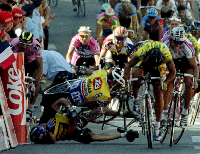 Wilfried Nelissen found a seam on the right side and began making his move to capture the Stage 1 crown, but just before the finish line Nelissen crashed into a policeman standing at the barricade. The crash created by the Belgian cost him the rest of the Tour due to injuries sustained.