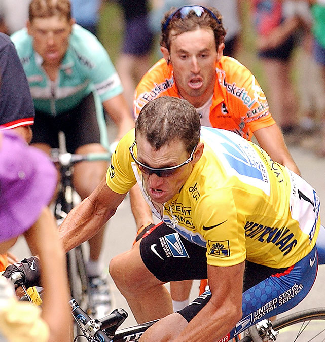 Lance Armstrong dealt with a fair share of misfortune during his run of seven straight Tour de France wins. His most memorable crash was during a duel with noted climber Iban Mayo (behind, in orange) during Stage 15 of the 2003 Tour on the climb to Luz-Ardiden. Armstrong rode close to a row of spectators, and his handlebar tangled with a fan's bag ( VIDEO ), bringing his bike crashing down. Armstrong regrouped and came back to win the stage in one of his most memorable rides.