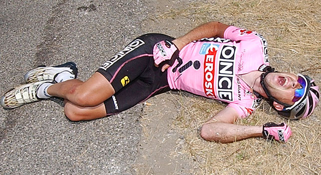 If not for this crash, Lance Armstrong may not have won seven straight Tour de France titles. Joseba Beloki, 29, had finished third, third and second in the 2000, 2001 and 2002 Tours and was in second place behind Armstrong heading into Stage 9 of the 2003 Tour. That's when his career as an elite cyclist ended with a sickening thud, a fall to the 125-degree pavement that caused a broken pelvis ( VIDEO ).  Beloki's tumble may best be remembered for the way a following Armstrong reacted to it, riding past Beloki's skidding body, through a field and then picking up his bike to walk over a ditch and back onto the road.