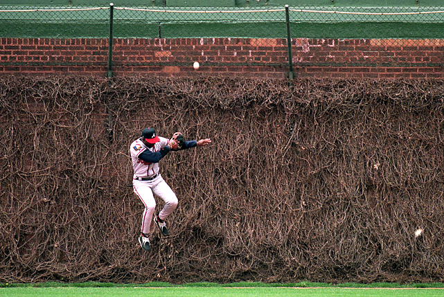 Seen here making a leaping catch in the ivy at Wrigley Field, Sanders was a member of the Atlanta Braves from 1991 to '94. With the Braves in 1992, Sanders had the best year of his career, hitting .304 with 26 steals