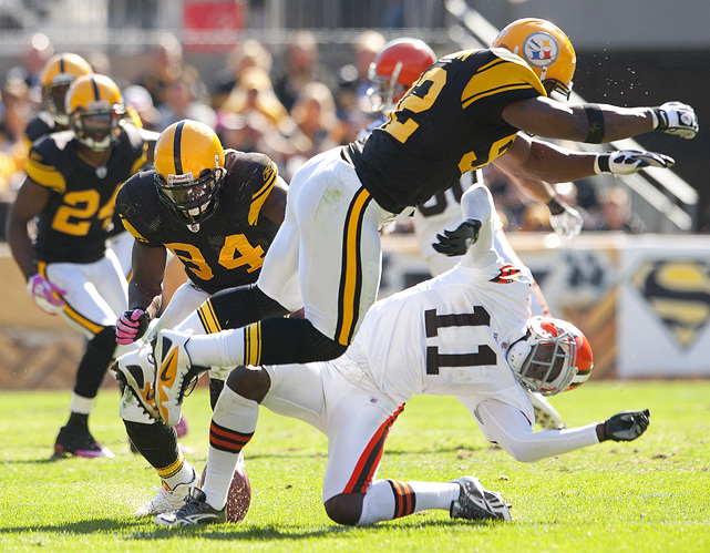 "Harrison delivers this cringe-worthy shot to Brown's wide receiver Mohamed Massaquoi in October 2010. Massaquoi suffered a concussion and Harrison was fined $75,000 by the league, prompting him to proclaim that he would retire because he was no longer able to be ""effective."""