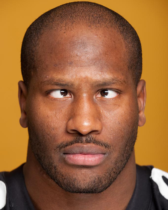 Harrison crosses his eyes for a picture in 2009. This look can also represent many wide receivers immediate reaction after being leveled by Harrison on a crossing route.