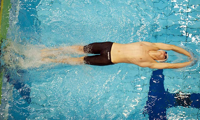 Andre Lehmann competes in the 100m backstroke at the 2011 IPC Swimming European Championship in Berlin on July 6.